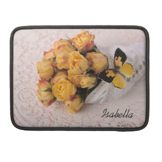 yellow roses with butterfly MacBook Pro sleeve