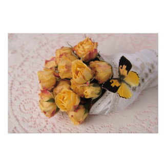 yellow roses with butterfly poster