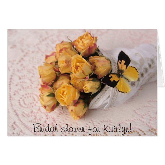 yellow roses with butterfly shower invitation