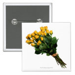 Yellow Roses Wrapped with Raffia 2 Inch Square Button
