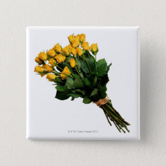Yellow Roses Wrapped with Raffia Pinback Button