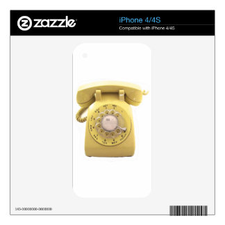Yellow Rotary Phone Decal For The iPhone 4S