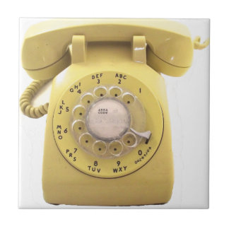 Yellow Rotary Phone Small Square Tile