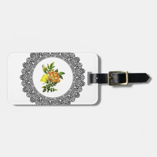 yellow round flowers bag tag