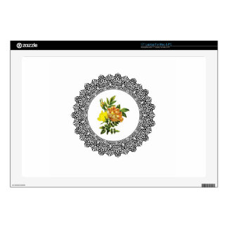 """yellow round flowers skin for 17"""" laptop"""