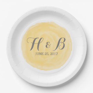 Yellow Round Watercolor Wedding Paper Plates 9 Inch Paper Plate