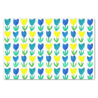 Yellow Royal Blue Tulip Watercolor Flowers Tissue Paper