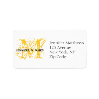 Yellow RSVP Card Address Labels Chic Monogram