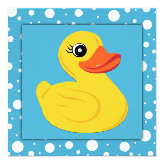 Yellow Rubber Duck Baby Shower 5.25x5.25 Square Paper Invitation Card