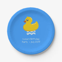 yellow rubber duck  -birthday party paper plate