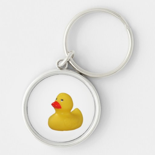 Yellow Rubber Duck cute keychain, gift idea Silver-Colored Round Keychain