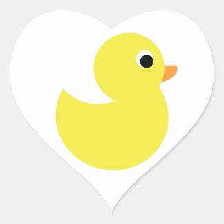 Yellow Rubber Duck Heart Sticker