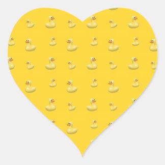 Yellow rubber duck pattern heart sticker