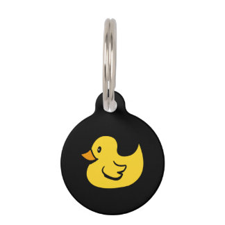Yellow Rubber Duck Pet Name Tags