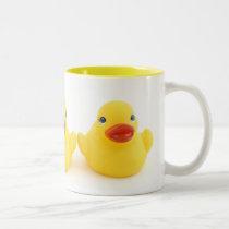 Yellow Rubber Duck Trio Two-Tone Coffee Mug