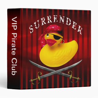 Yellow Rubber Duck VIP Pirate Club Notebook 3 Ring Binder