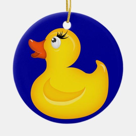 Yellow Rubber Duckies Ceramic Ornament