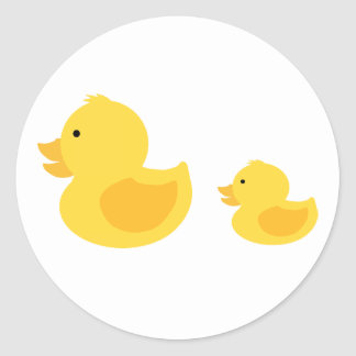 Yellow Rubber Duckies Neutral Baby Shower Classic Round Sticker