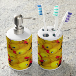 Yellow Rubber Duckies Print Bathroom Set