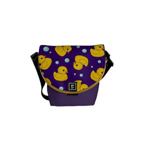 Yellow Rubber Duckies purple bag Messenger Bag