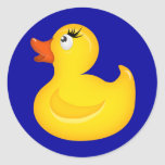 Yellow Rubber Duckies Round Stickers