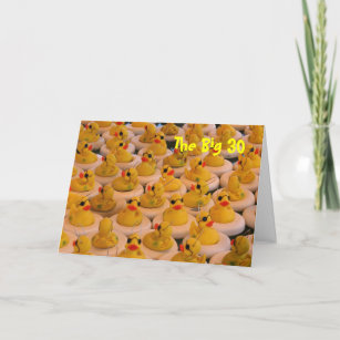 Yellow Rubber Ducks Funny 30th Birthday Card