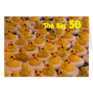 Yellow Rubber Ducks Funny 50th Birthday Card