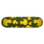 Yellow Rubber Ducks on Green Grass Skateboard
