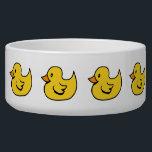 "Yellow Rubber Ducks Pet Bowl<br><div class=""desc"">Row of yellow rubber ducks. Cartoon design.</div>"