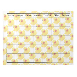 Yellow Rubber Ducks Planning Calendar Blank Notepad