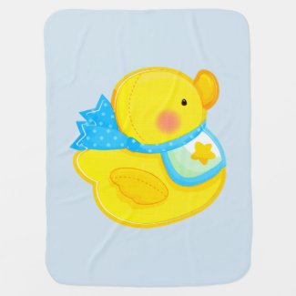 Yellow Rubber Ducky Baby Blanket