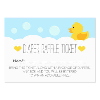 Yellow Rubber Ducky Baby Shower Diaper Raffle Large Business Cards (Pack Of 100)