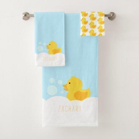 Yellow Rubber Ducky Bath Towel Set
