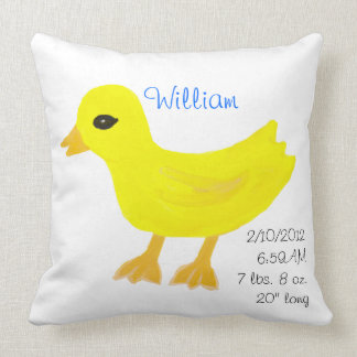 Yellow Rubber Ducky Birth Details Blue Throw Pillow