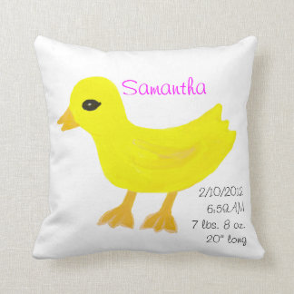 Yellow Rubber Ducky Birth Details Pink Throw Pillow
