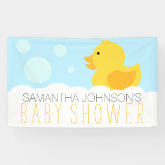 Yellow Rubber Ducky Bubble Bath Baby Shower Banner