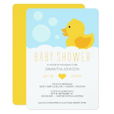 Toddler & Baby themed Yellow Rubber Ducky Bubble Bath Baby Shower Card