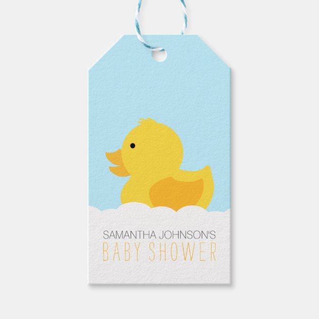 yellow rubber ducky bubble bath baby shower gift tags  zazzle, Baby shower