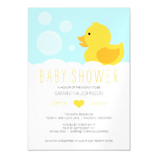 Yellow Rubber Ducky Bubble Bath Baby Shower Magnetic Invitations