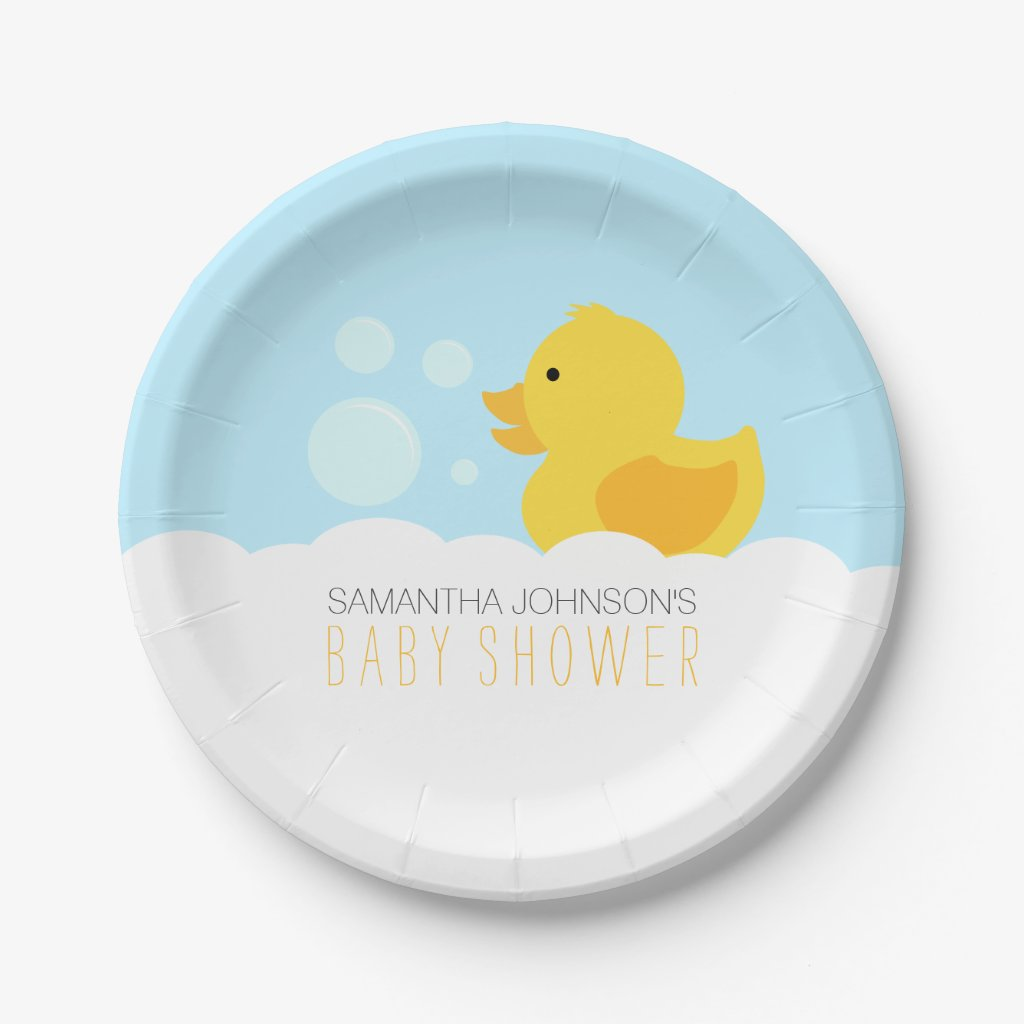Yellow Rubber Ducky Bubble Bath Baby Shower Paper Plate