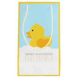 Yellow Rubber Ducky Bubble Bath Baby Shower Small Gift Bag