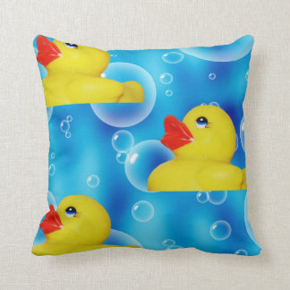 Yellow Rubber Ducky in Bubbles Throw Pillow