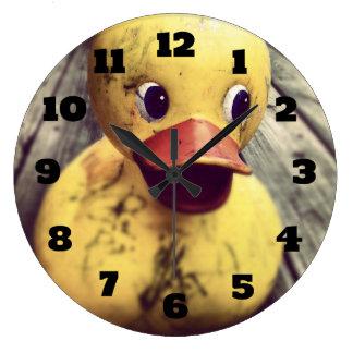 Yellow Rubber Ducky Needs a Bath! Wall Clocks