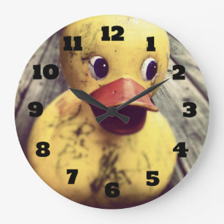 Yellow Rubber Ducky Needs a Bath! Large Clock