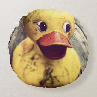 Yellow Rubber Ducky Needs a Bath! Round Pillow