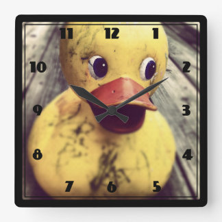 Yellow Rubber Ducky Needs a Bath! Square Wall Clock