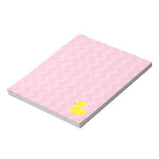 Yellow Rubber Ducky on Pink Notepad