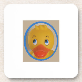Yellow Rubber Ducky Rolls His  Eyes - Humor Beverage Coaster