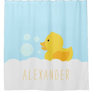 Yellow Rubber Ducky Shower Curtain
