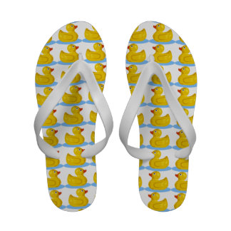 Yellow Rubber Ducky Swimming in Water Pattern 2 Sandals